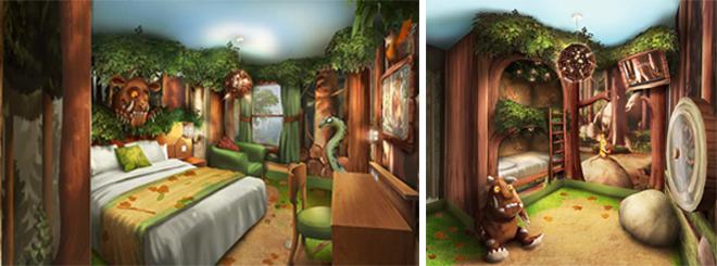 Gruffalo themed hotel rooms in the Chessington Safari Hotel